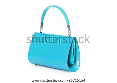 Elegant woman bag on white - stock photo