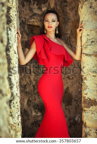 Elegant woman in red dress
