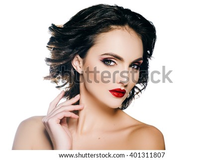 Elegant woman model with makeup and hair on a white background.  beautiful hands