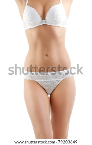 elegant woman torso in classic lace lingerie - stock photo