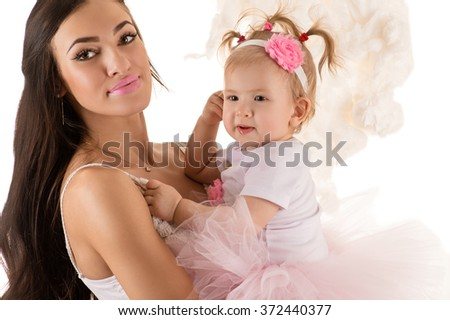 elegant woman with a daughter