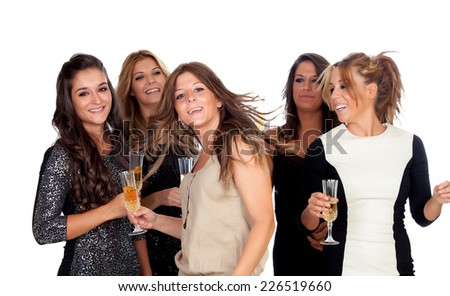 Elegant women celebrating christmas dancing in the party isolated on a white background