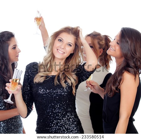 Elegant women celebrating christmas dancing in the party isolated on a white background - stock photo