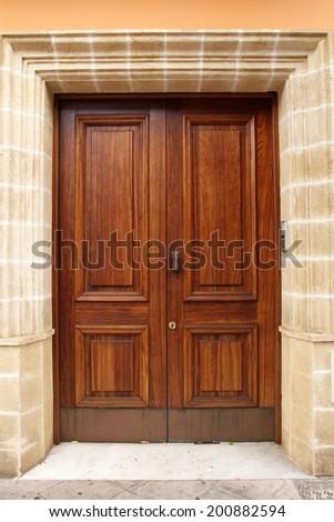 elegant wooden door - stock photo