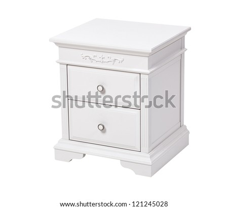 Elegant wooden nightstand isolated over white - stock photo