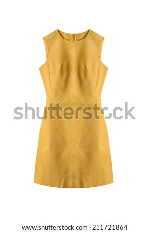 Elegant yellow sleeveless dress on white background - stock photo