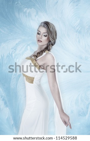 Elegant young fashion woman with snow frost winter make-up - stock photo