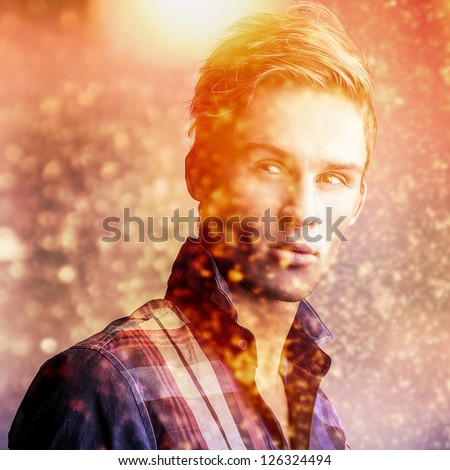 Elegant young handsome man..Color digital painted image portrait of men face. - stock photo