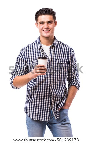 Elegant young handsome man drink coffee in shirt on white.