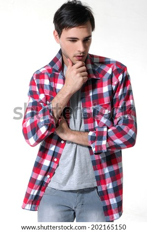 Elegant young handsome man. Studio fashion portrait - stock photo