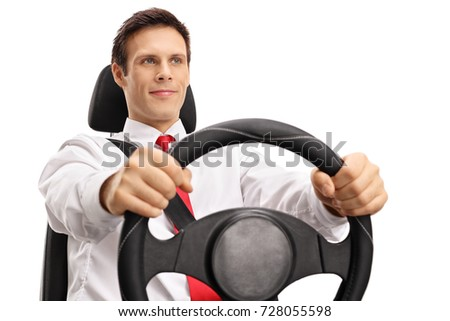 Elegant young man driving isolated on white background