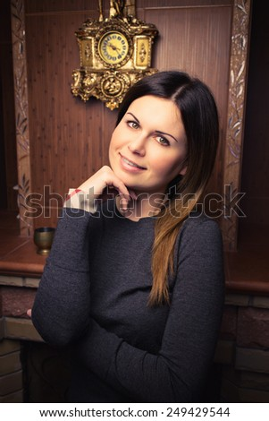 Elegant young woman posing in vintage interior. Fashion shot. Vogue style - stock photo