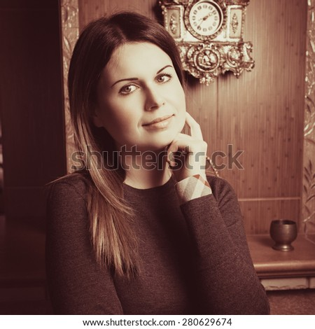 Elegant young woman posing in vintage interior. Fashion shot. Vogue style. Photo with instagram style filters - stock photo