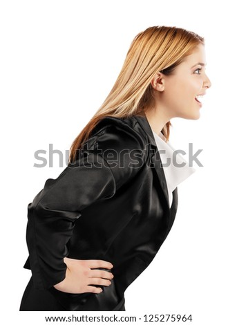 Elegant young woman speaking in profile position. White background - stock photo