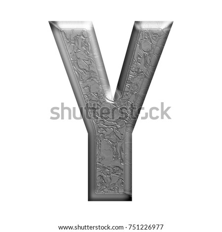 Elegantly carved texture silver chrome uppercase or capital letter Y in a 3D illustration in a metallic gray style with an etched pattern bold font isolated on a white background with clipping path.