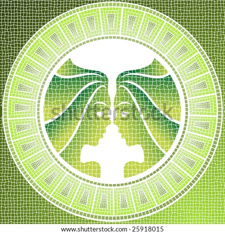 Element air: gemini zodiac sign on a mosaic - stock photo