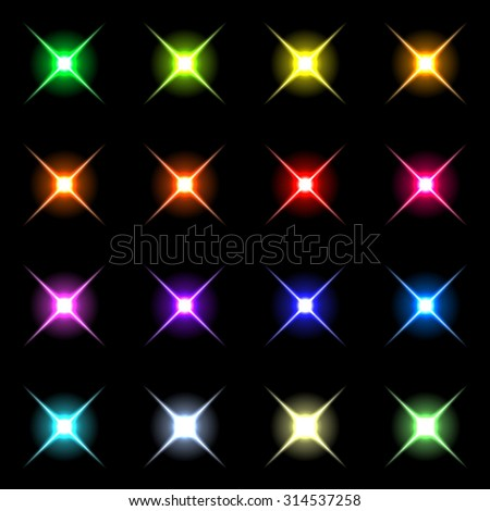 Element blue light with lens effect set.  Raster 3 - stock photo