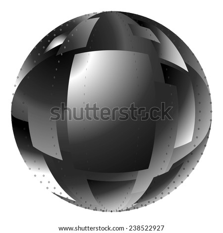 element for design abstract black white ball with fragments isolated on white background raster