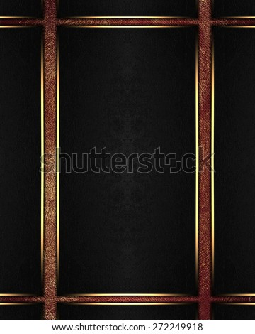 Element for design. Template for design. Abstract black background with golden lines - stock photo
