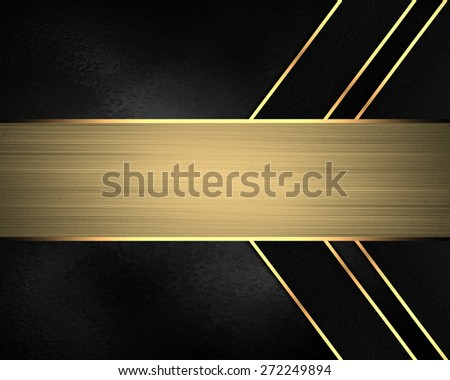 Element for design. Template for design. Black background with gold lines and nameplate - stock photo