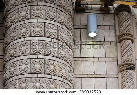 element of classical architectural pattern old wall with column - stock photo
