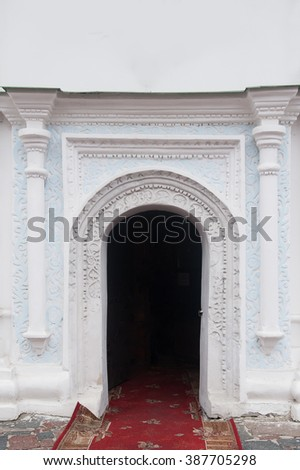 element of classical architectural pattern old wall with columns - stock photo