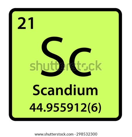 scanduim element Scandium scan i m (skān'dē-əm) n symbol sc a highly reactive metallic element found in various rare minerals and separated as a byproduct in the processing of certain uranium ores atomic number 21 atomic weight 44956 melting point 1,541°c boiling point 2,830°c specific gravity 299 valence 3.