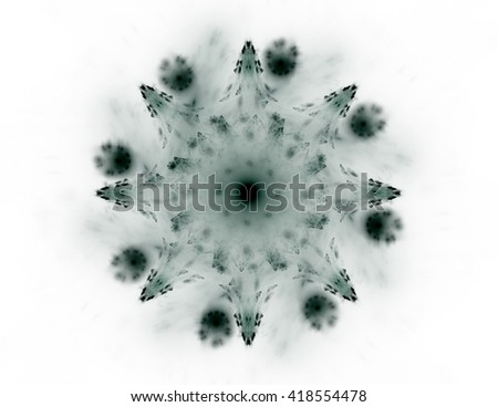Elementary Particles series. Interplay of abstract fractal forms on the subject of nuclear physics science and graphic design - stock photo