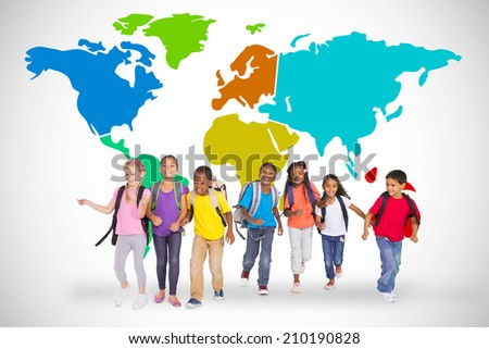 Elementary pupils running against white background with world map - stock photo