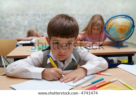 Elementary school. Classroom. Lesson, different characters. - stock photo