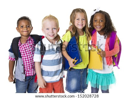 Elementary School Kids Group Isolated - stock photo
