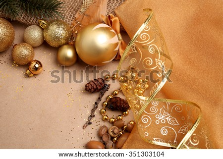 Elements Christmas composition in golden tones, close-up/Christmas Background in Gold Tones