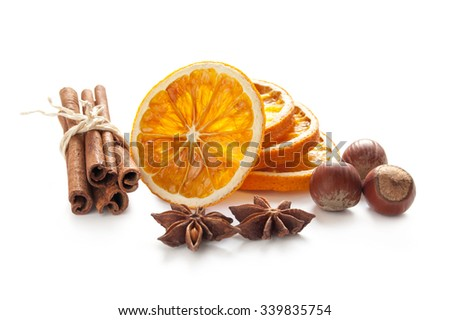 Elements for Christmas decoration with spices and cookies - stock photo