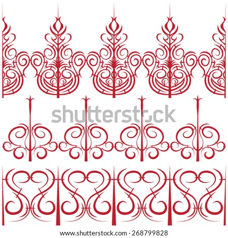 elements for design. Set of borders in the form of a fence - stock photo