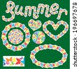Elements for summer or spring design. Word SUMMER; round, oval, heart frames are made of butterflies silhouettes. Raster version - stock photo