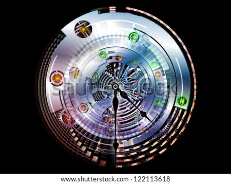 Elements of Clockwork. Backdrop of  clock gears, numbers and fractal elements to complement your design on the subject of time, modernity, science and technology - stock photo