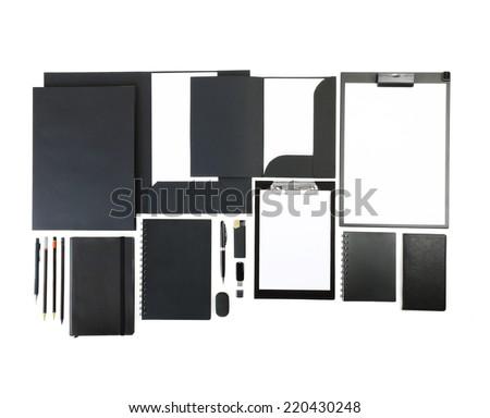 Elements of corporate identity, black corporate identity, black design elements, set to accommodate corporate identity, collection of corporate identity, isolated on white background - stock photo