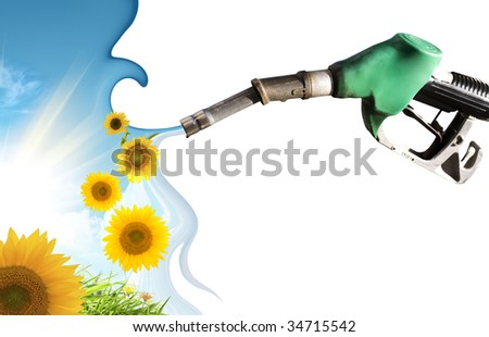 Elements of nature that come out from fuel pump - stock photo