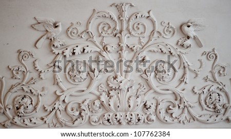 elements of plaster moldings in the interior - stock photo