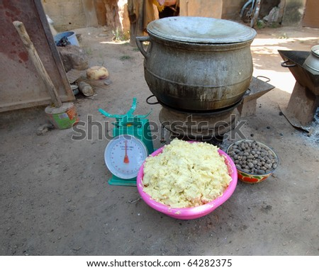 elements of shea butter, nuts, cream - stock photo
