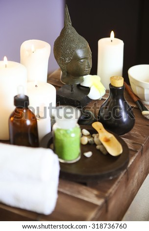 Elements of spa massage in spa salon - stock photo