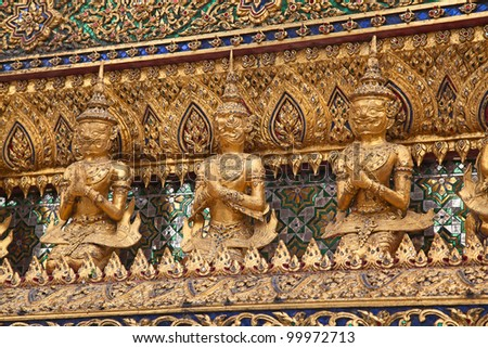 Elements of the decorations of the Grand Palace and Temple of Emerald Buddha in Bangkok, Thailand
