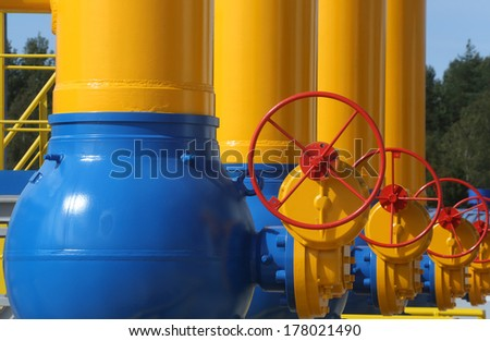Elements of  the equipment of modern compressor station  - stock photo