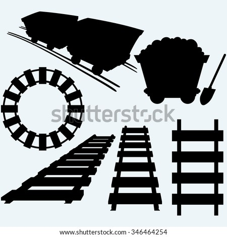 Elements of the railway. Set railroad and mining cart. Isolated on blue background. Raster silhouettes - stock photo