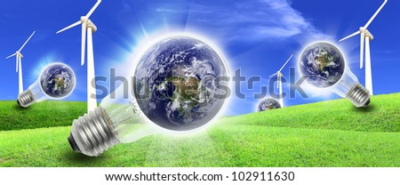 Elements of this image furnished by NASA A wind farm is a group of wind turbines in the same location used to produce electric power - stock photo