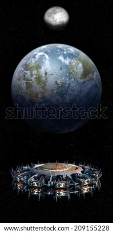 Elements of this image furnished by NASA. Alien mothership UFO nearing Earth, with the Moon rising and copy space for futuristic, space fantasy or interstellar travel cover images or backgrounds. - stock photo