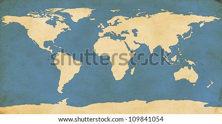 Elements of this image furnished by NASA. World map on aged, grungy paper. Map redrawn by me in illustrator using NASA map for reference http://visibleearth.nasa.gov/view.php?id=74192. - stock photo