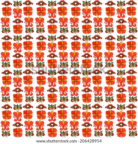 Elements of traditional russian decorative northern ornament. Seamless pattern in Northern Russia painting style on white background - stock photo