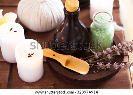 Elements spa massage by candlelight. Soft focus