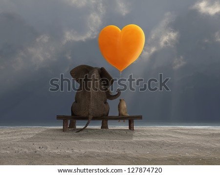 elephant and dog holding a heart shaped balloon - stock photo